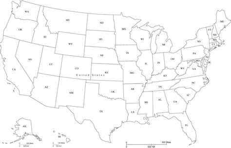 state map of united states usa map with state abbreviations in adobe illustrator and