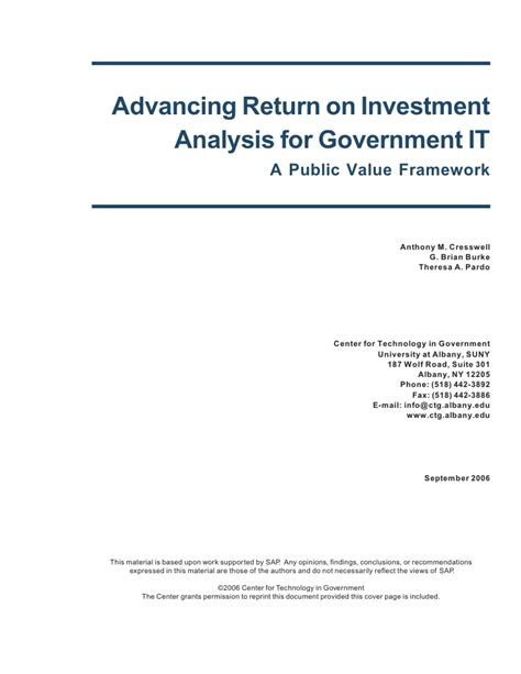 Executive Mba Return On Investment by Advancing Return On Investment Analysis For Government It