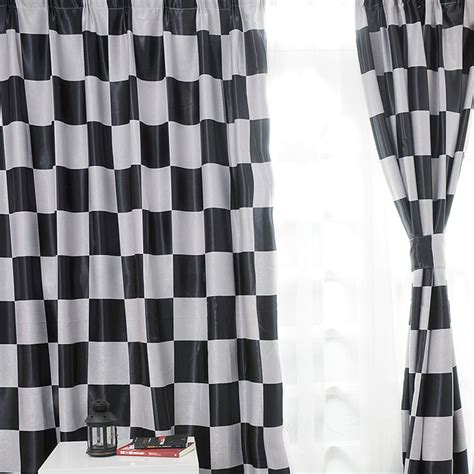 black and white plaid curtains mediterranean style modern curtain black and white window