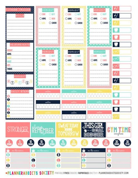 printable workout stickers exercise stickers printable planner stickers gym happy