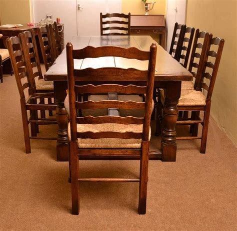 Bespoke Dining Tables And Chairs Bespoke Solid Oak Refectory Dining Table And Ten Chairs For Sale At 1stdibs