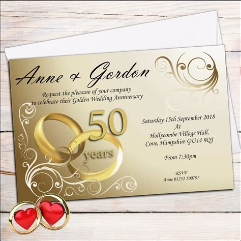 Gold Wedding Invitation Cards by 10 Personalised Golden 50th Wedding Anniversary