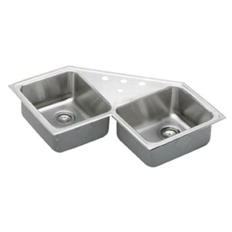 stainless steel corner sink elkay lustertone corner top mount stainless steel 33x33x8