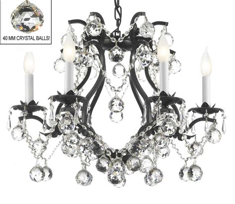 A83 B6 3530 6 Gallery Wrought With Crystal Black Wrought Black Iron Chandelier With Crystals