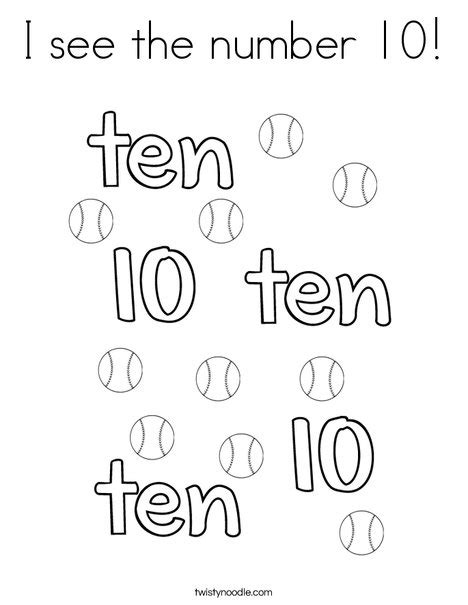 number 10 coloring page twisty noodle i see the number 10 coloring page twisty noodle