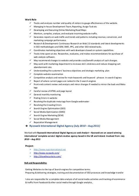 Web Analyst Sle Resume by Seo Web Analyst Resume Tinils Resume New Copy