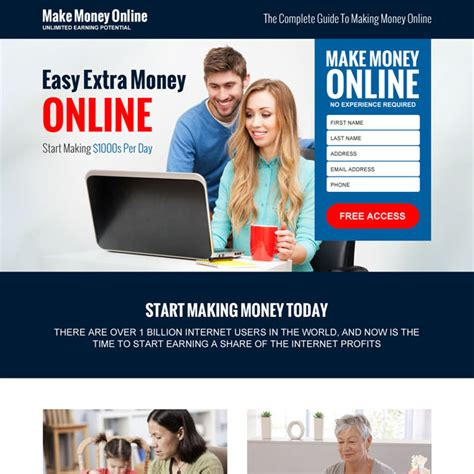 Free Guide To Making Money Online - money online landing page design templates to earn money online