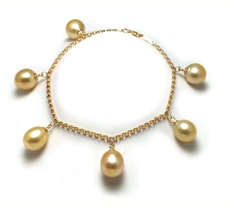 pearls with gold charm style golden south sea gold pearl bracelet with