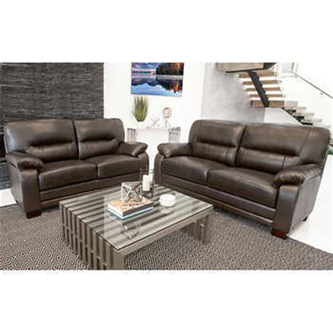 Brentwood 2 Piece Top Grain Leather Sofa And Loveseat