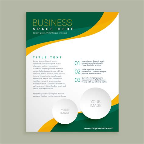yellow business brochure template with geometric shapes green and yellow wavy shape business brochure flyer layout