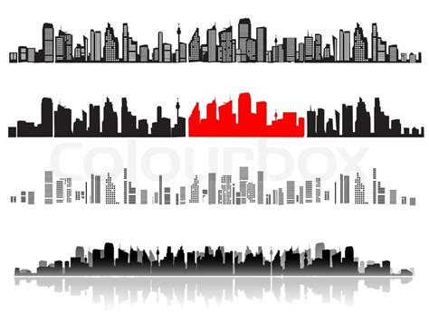 Construction Wall Stickers city landscape silhouettes of houses black stock vector