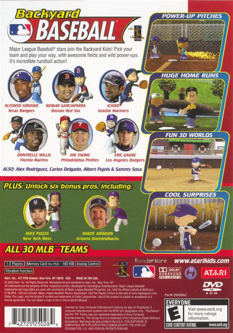 Backyard Baseball Covers Backyard Baseball Playstation 2 Back Cover