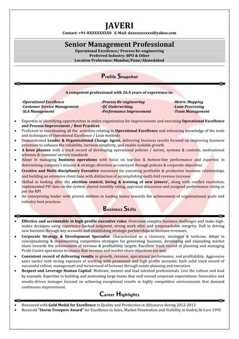 Bpo Resume Doc by Bpo Sle Resumes Resume Format Templates