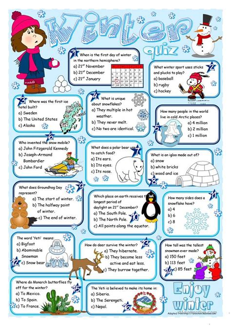 winter quiz worksheet free esl printable worksheets made