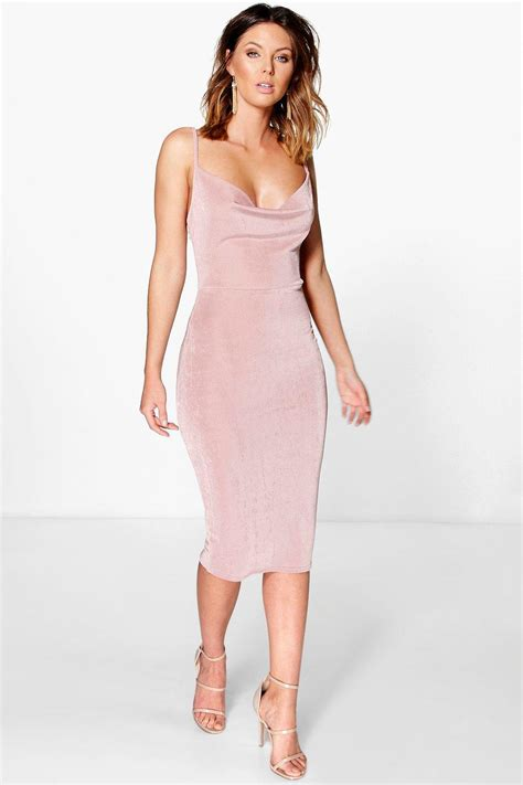 Cowl Midi Dress textured slinky cowl neck midi dress at boohoo