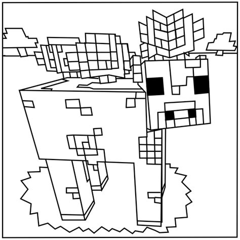 Minecraft Mooshroom Coloring Page | free coloring pages of minecraft sty cat