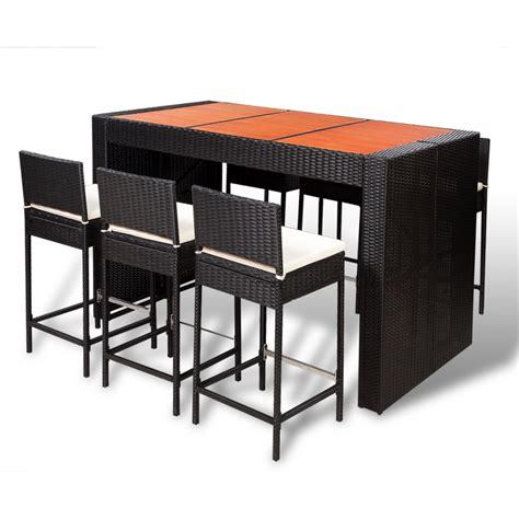 Rattan Bar Table Vidaxl Poly Rattan Bar Furniture Set 6 Bar Stools 1 Table With Wooden Top Vidaxl