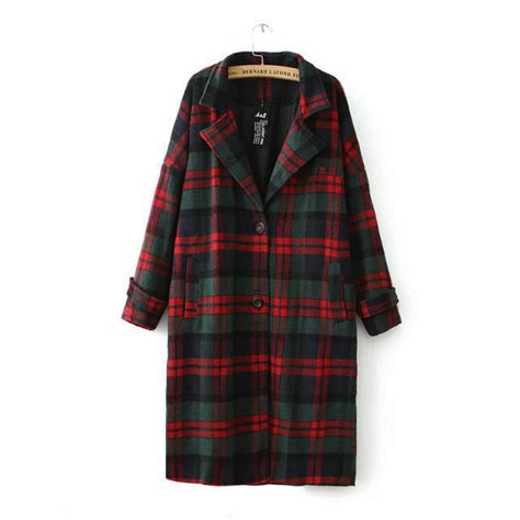31271 Green Winter Plaid Dress winter new retro classic and green plaid section single breasted wool coat
