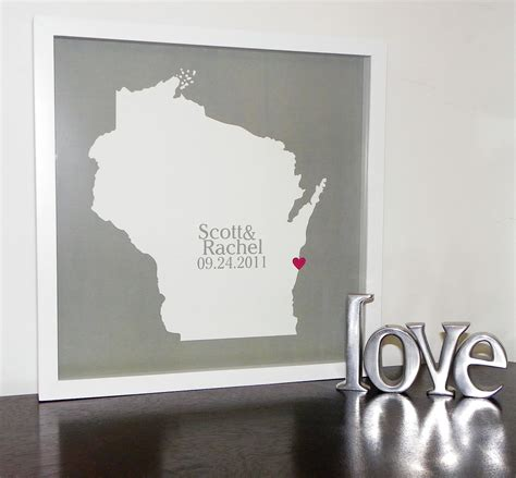Unique Handmade Wedding Gifts - custom wedding gift personalized state map by definedesign11