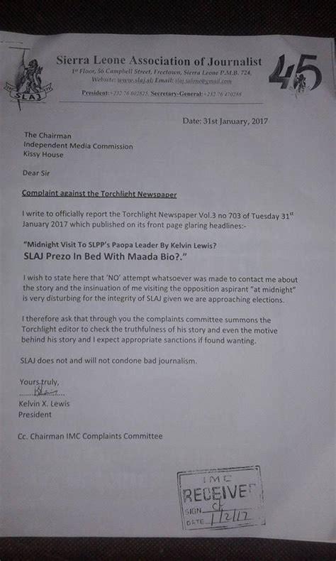 Complaint Letter Lewis Torchlight Newspaper Reports Sla J To Cpj For Seeking Paper S Demise After Being Asked To