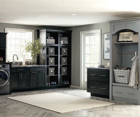 laundry room base cabinets dark grey laundry cabinets kemper cabinetry
