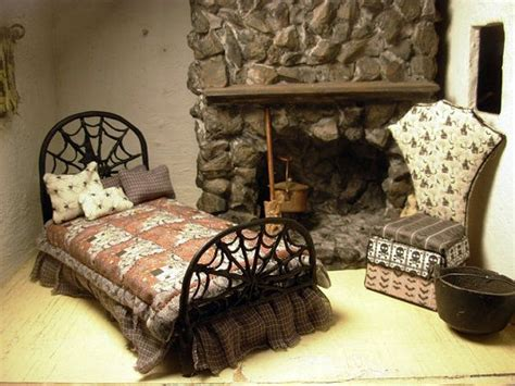 haunt bed a spooky spider web haunted house bed dollhouse miniature