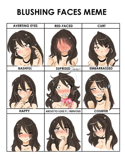 Blushing Meme - blushing faces meme contest on genesis artistry deviantart