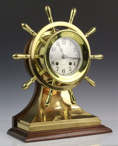 Clock L Stand chelsea yacht wheel ships bell brass clock w stand