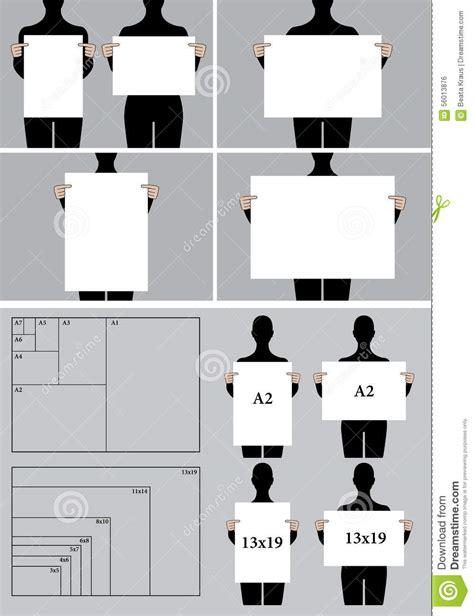 eps format size people holding blank poster templates vector set stock