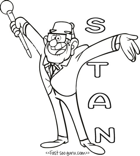 gruncle stan gravity falls coloring pages to print