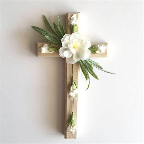 Floral Cross by Wall Cross Wood Cross Floral Cross Flowers Christian Cross