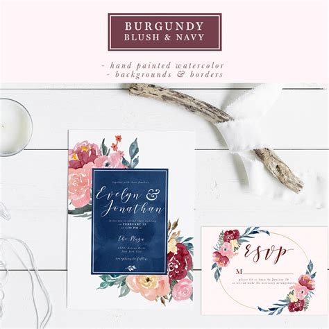 Navy Wedding Background by Burgundy Blush Navy Watercolor Backgrounds 5x7 Floral Borders