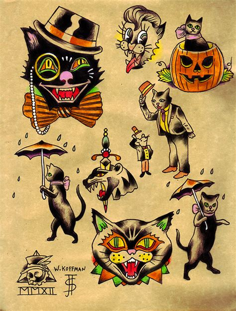 halloween tattoo flash 1000 images about cat on cats