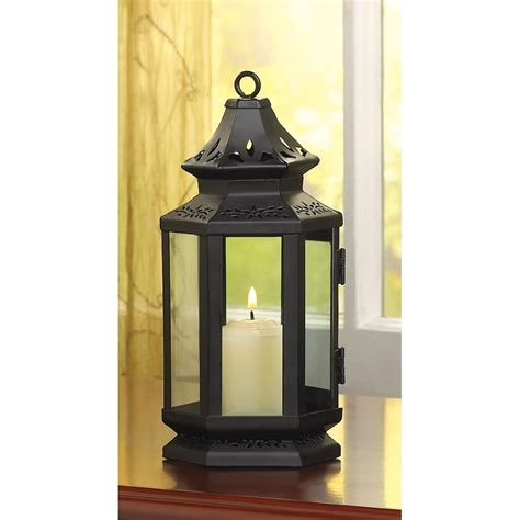 Home Decor Candle Lanterns West Black Stagecoach Candle Lantern Western Home Decor Iron Glass Ebay