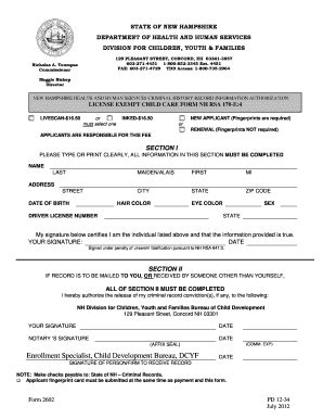 Dhhs Background Check New Hshire Criminal Release Form Fill