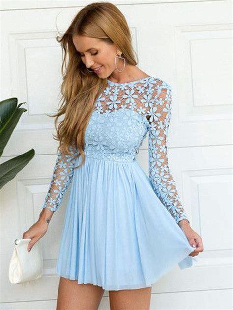 3 4 Sleeve Lace A Line Mini Dress a line princess chiffon sleeves lace mini