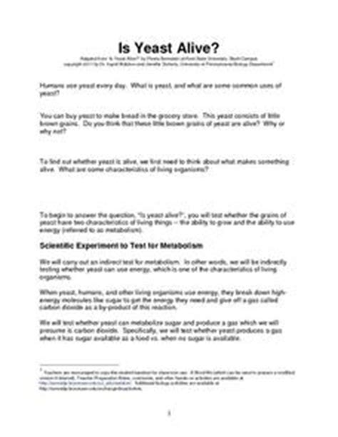Is It Alive Worksheet by Is Yeast Alive 9th 12th Grade Worksheet Lesson Planet