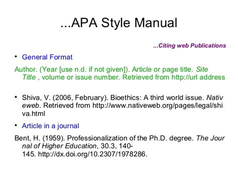 citing dissertation apa citation and style mannuals