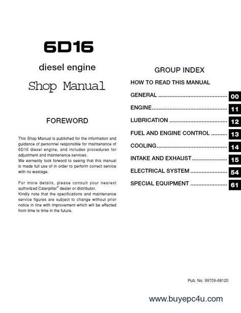 Mitsubishi Forklift Fd150a 6d16 Diesel Engine Service Manual caterpillar 6d16 diesel engine forklifts service manual pdf