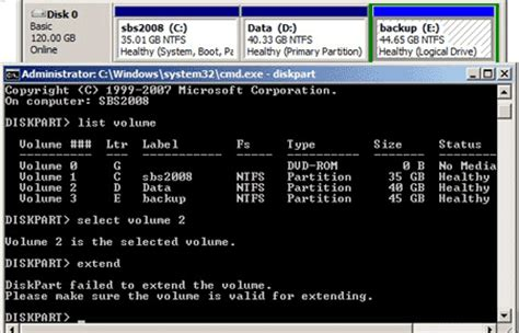 diskpart format unallocated space extend c drive in windows 2003 calgarymake