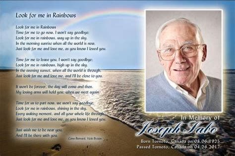 funeral holy card template memorial card templates funeral cards in rainbows