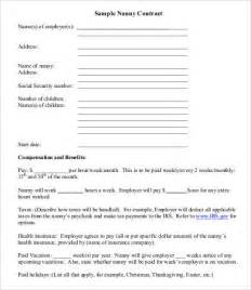 Babysitting Contract Template by 10 Sle Nanny Contract Templates Free Sle Exle
