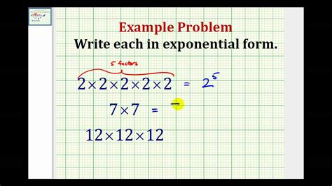 exle write repeated multiplication in exponential form youtube