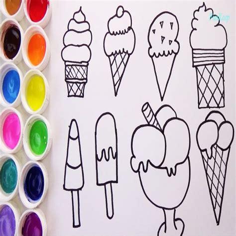 imagenes para dibujar y pintar o dibujar y colorear helados aprende los colores pintando