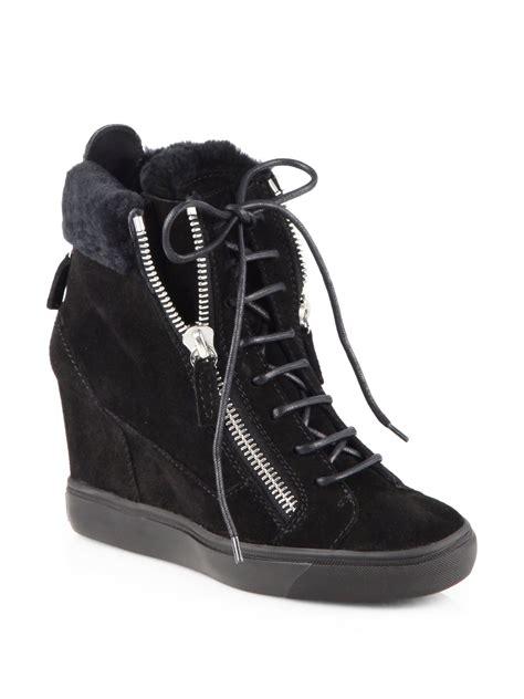 giuseppe zanotti sneaker wedge giuseppe zanotti suede platform wedge sneakers in black lyst