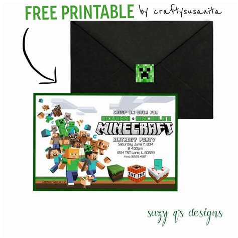 minecraft party invitation ideas afoodaffair me