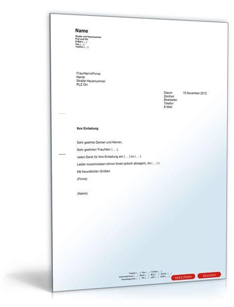 Bewerbung Einladung Absagen Absage Einer Einladung Muster Vorlage Zum