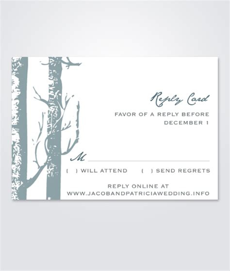 Birch Wedding Rsvp Cards Template by Winter Birch Trees Rsvp Card Print