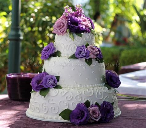 Wedding Cakes With Yellow And Purple Flowers by Wonderful 3 Tier Wedding Cakes