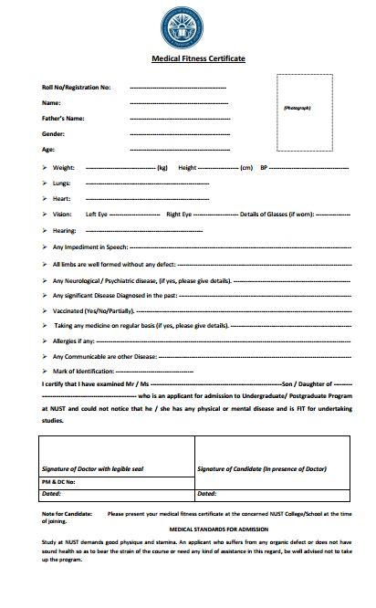 nust medical certificate form filled the nust web